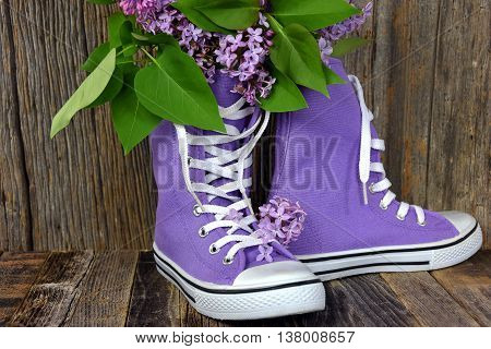 Lilac bouquet in a pair of purple high top sneakers on rustic barn wood.