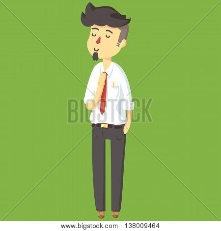 Red Nose Young Businessman Cartoon Style Worker, vector
