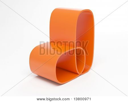3d Render Of Modern Orange Armchair Isolated Over White Background