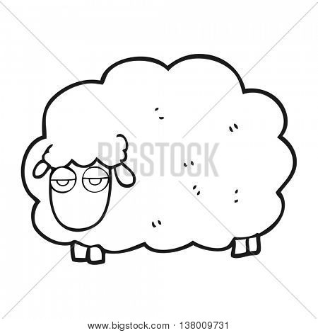 freehand drawn black and white cartoon muddy winter sheep