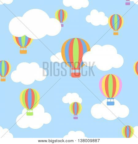 Seamless pattern with clouds and different colors cartoon aerostats flying in the sky. Flat design. Vector illustration.