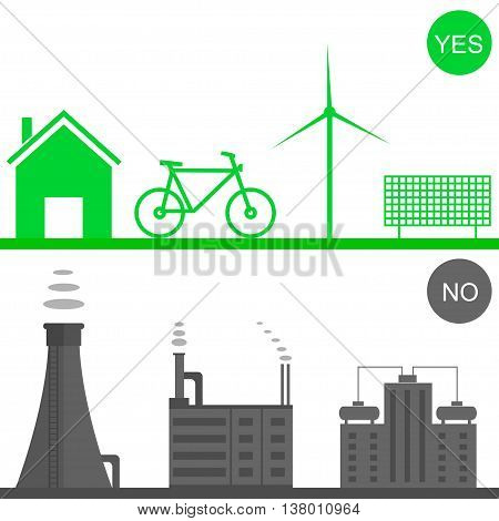 Environmental pollution illustration. Green house, solar panel, green bicycle, wind energy system. Toxic waste. Heavy industry