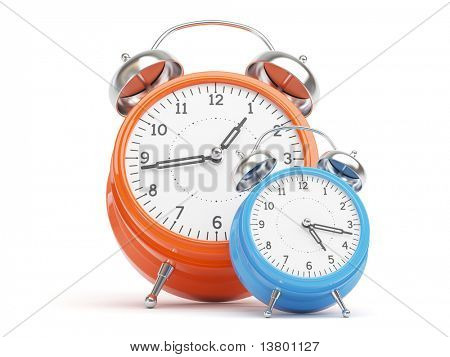 Orange and Blue Retro Clocks isolated on white Background