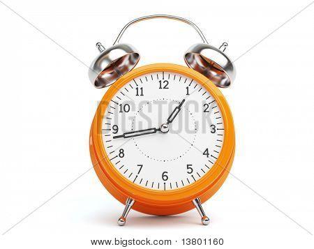 Orange Retro Clock isolated on white Background