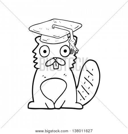 freehand drawn black and white cartoon beaver graduate