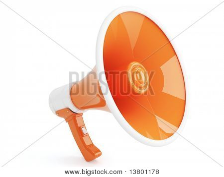 Orange Megaphone in Retro Style isolated on white background