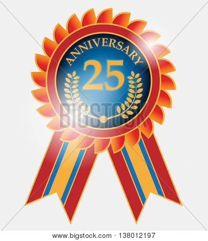 Abstract 25 years anniversary label, vector illustration