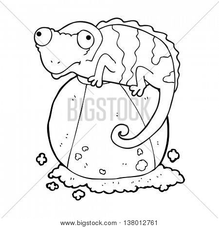 freehand drawn black and white cartoon chameleon on ball