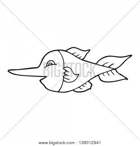 freehand drawn black and white cartoon swordfish