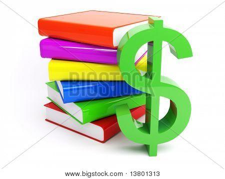 Dólar 3D com pilha de livros isolado no fundo branco