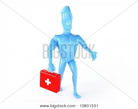 3d render of blue man with  first aid ki isolated on white background