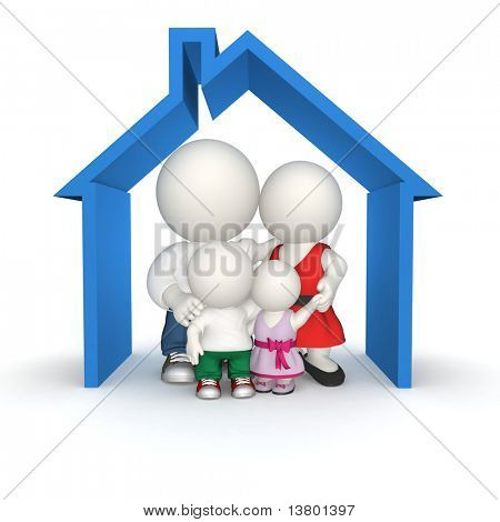 3D family in a house - isolated over a white background