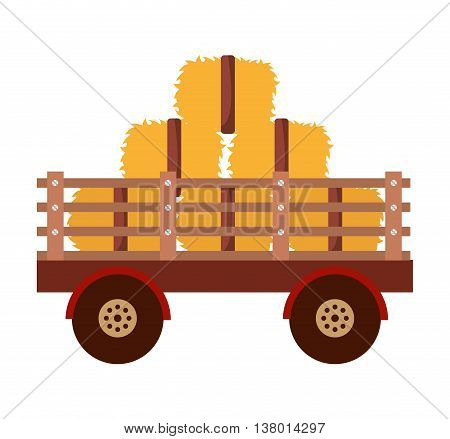 farm wagon with straw isolated icon design, vector illustration  graphic