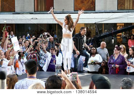 NEW YORK-JULY 11: Jennifer Lopez performs onstage at NBC's Today Show at Rockefeller Plaza on July 11, 2016 in New York City.