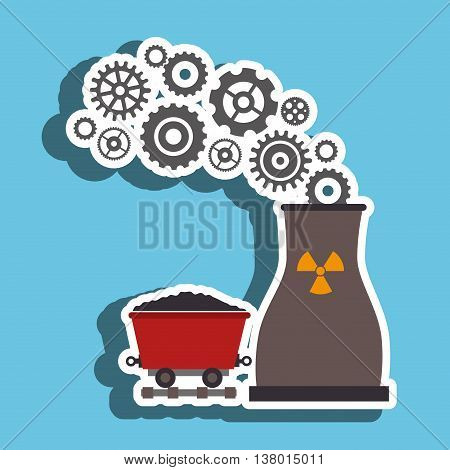 nuclear reactor and mining isolated icon design, vector illustration  graphic
