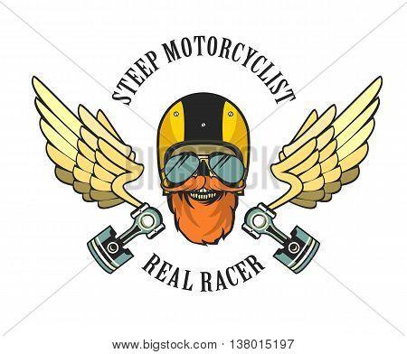 vector emblem retro motorcyclist old skull in a motorcycle helmet