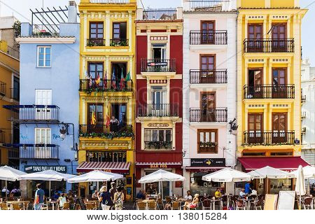 Valencia -june 24: Old Town Colorful Houses  On June 24 2016 In Valencia, Spain.valencia Old Town At