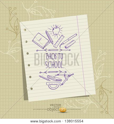 vector background with a sheet of notebook and school pictures (sketches)