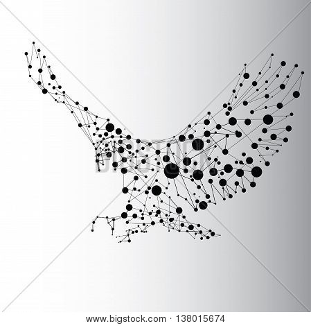 Abstract black eagle consisted of dots and lines
