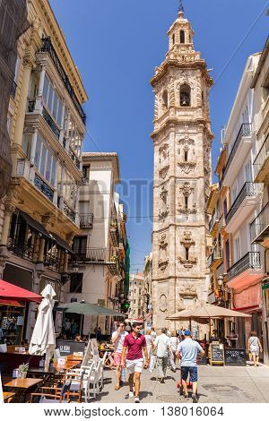 Valencia -june 24: Santa Catalina Tower On June 24 2016 In Valencia, Spain. Santa Catalina Is The On