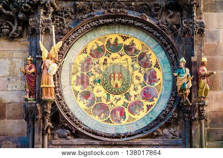 Astronomical Clock-Orloj close-up in Prague, Czech Republic, Europe. Vintage style. Prague clock tower detail.