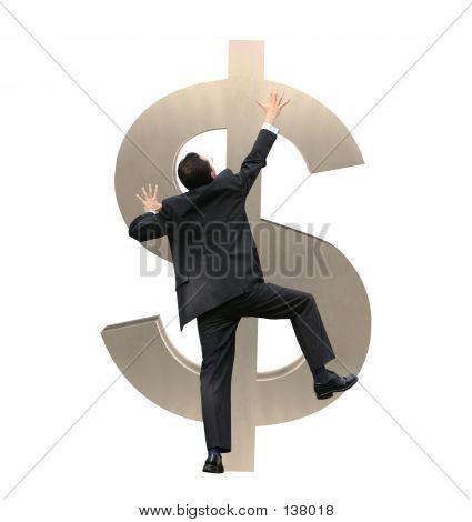 Business Man Climbing A Dollar Sign - 12mp