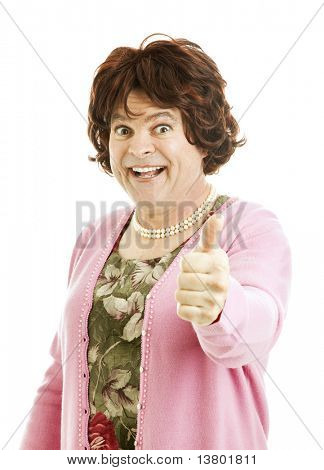 Humorous poto of cross-dressing transvestite giving a thumbsup sign.  Isolated on white.