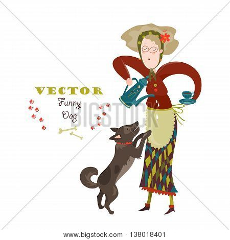 Cheerful elderly woman with funny dog. Vector illustration