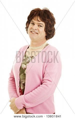 Portrait of a man dressed as a woman.  Humorous photo, deliberately unconvincing.  Isolated on white.