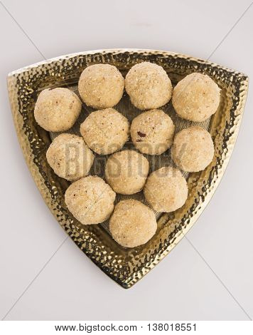 indian sweet coconut laddu or laddoo or nariyal laddu in hindi