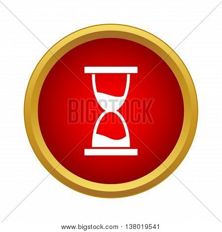 Hourglass icon in simple style in red circle. Time symbol