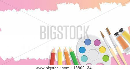 Blank banner Equipment for painting for advertising and presentation about art subject study illustration vector.