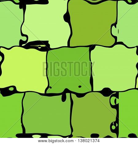 Seamless abstract texture of green deformed cubes