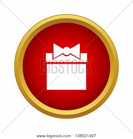 Childrens gift icon in simple style in red circle. Products symbol