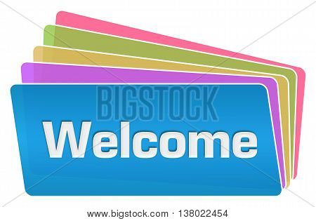 Welcome text written over colorful squares background.