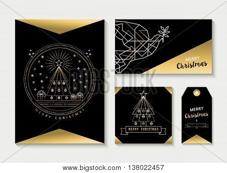 Gold Line Art Set Christmas Greeting Card Template