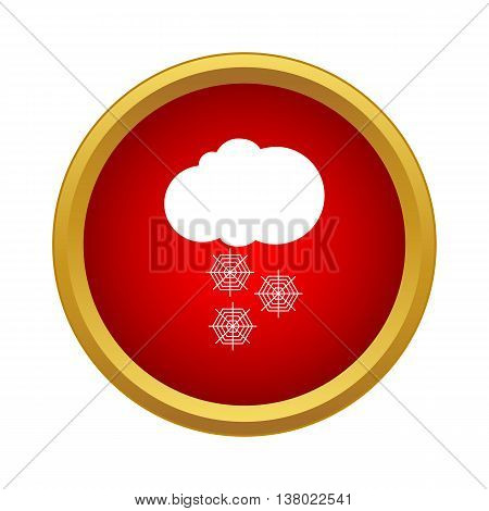 Snowfall icon in simple style in red circle. Nature symbol