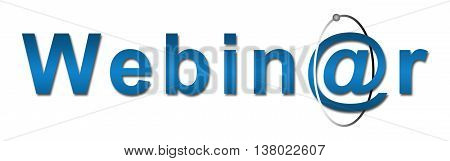 Webinar text in blue written in a conceptual way.