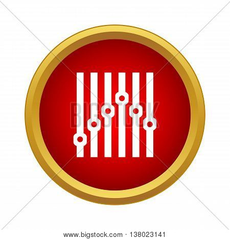 Equalizer icon in simple style in red circle. Music symbol