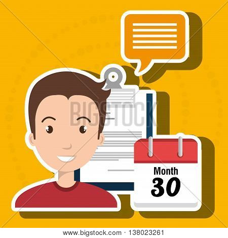 man with papers isolated icon design, vector illustration  graphic