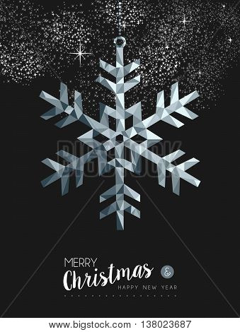 Merry Christmasr Silver Snow Greeting Card Design