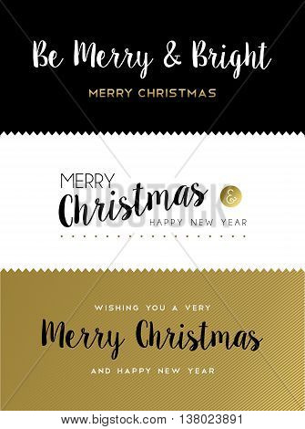 Christmas And New Year Gold Lettering Set