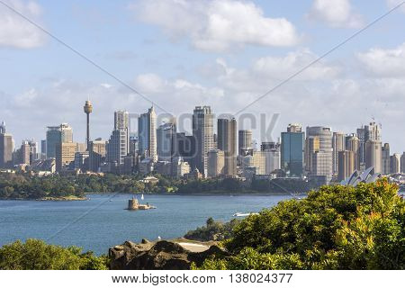 SYDNEY, AUSTRALIA - APRIL 20: Sydney skyline over the harbour at daytime. April 2016
