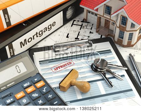 Mortgage application form with stamp approved, house, calculator and binders. 3d illustration