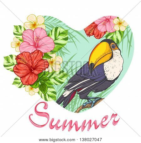 Pink tropical flowers and toucan. Summer background with floral heart.