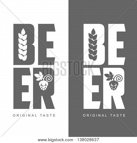 simple logo with the words Beer, illustration, isolated on a white background. logos Beer black and white color. logo with hops and barley beer label concept
