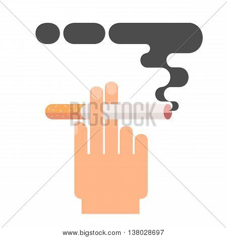 Icons about smoking, illustration flat. dangers of smoking, health problems. hand holding a cigarette. danger to life and limb due to nicotine