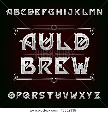 Distressed vintage alphabet vector font. Ornate letters for labels, headlines, posters etc.