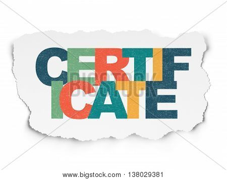 Law concept: Painted multicolor text Certificate on Torn Paper background
