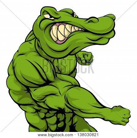 Alligator Or Crocodile Mascot Fighting